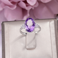 Fine Jewelry 100% Silver 925 Rings For Women Amethyst Natural 14*10mm Purple Oval Gemstone White Gold Color Ringen R AM003