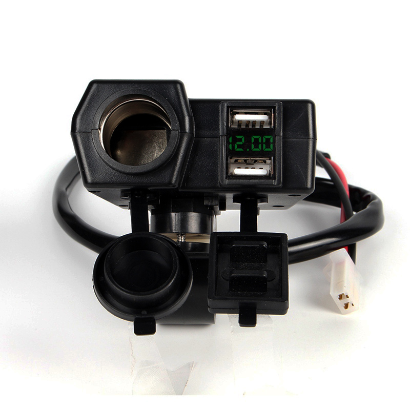 Green Display Digital Voltage Meter Monitor + Muti-Function USB Charger Adapter Plug + Cigarette Lighter Socket Spliter + Wires
