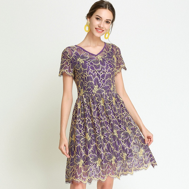 2018 Plus Size Lace Dresses Party Dress Elegant Maternity Dress Loose Pregnancy Clothes Floral Print Purple Europe Style M-5XL