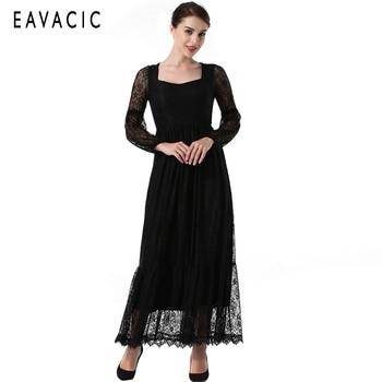 5c19ef27dc8 Винтажное платье женское элегантное черное кружевное платье вечернее платье  женское vestido de noite vestido de noche длинные платья