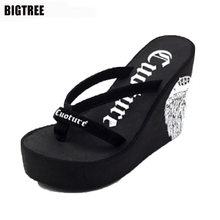 2017 New Arrival Shoes Woman Summer Flip Flops Super High Heel Wedges Platform Women Slippers Ladies Designer Flip Flops 40 TXJ