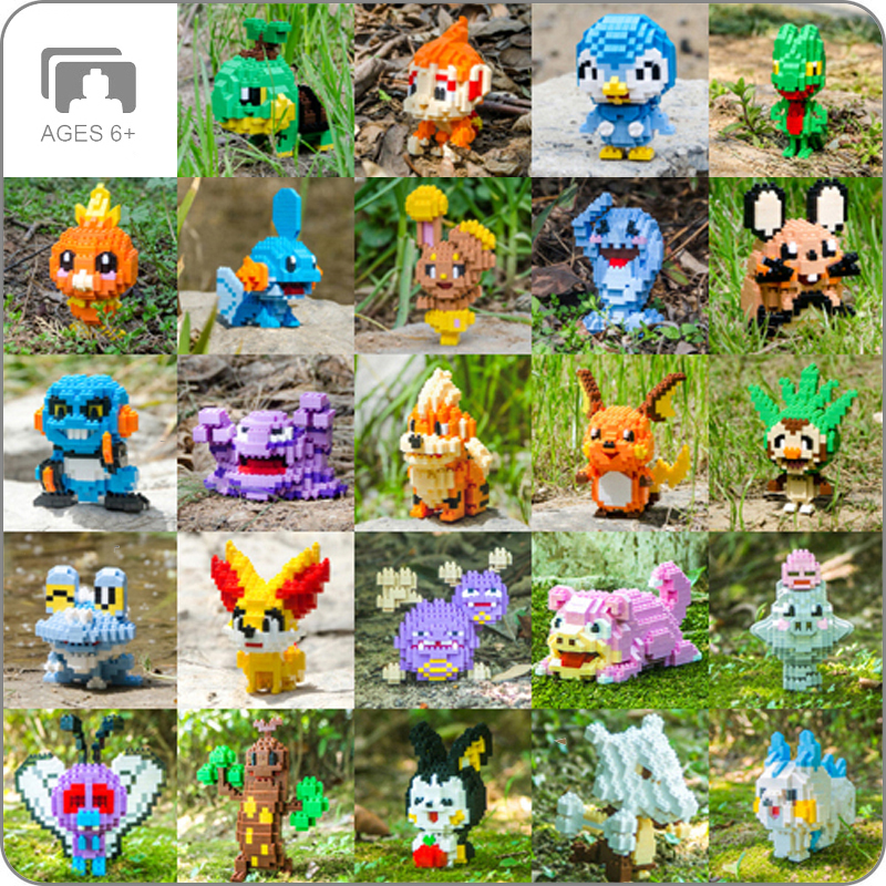 SC Pocket Monster Butterfree Sudowoodo Froakie Growlithe Raichu Mudkip Animal DIY Mini Building Diamond Small Blocks Brick Toy