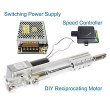 Atuador linear da c.c. 24v do design de diy reciprocando o curso do motor elétrico + controlador de velocidade da fonte de alimentação 110v 240v + pwm de comutação