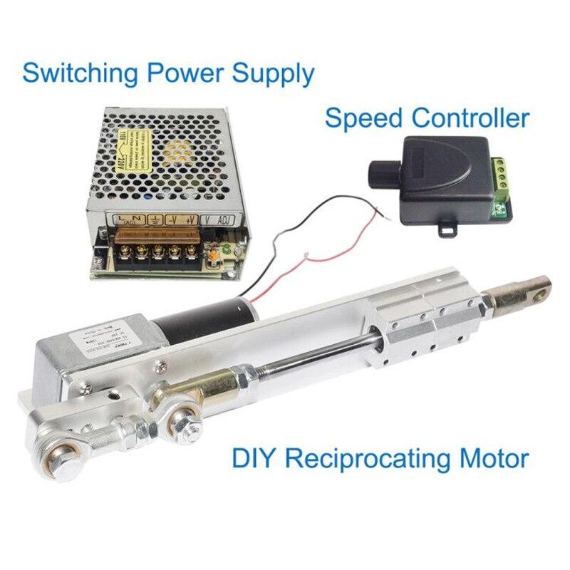 Bricolage conception DC 24V actionneur linéaire moteur électrique alternatif course + alimentation à découpage 110 V-240 V + contrôleur de vitesse PWM