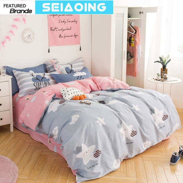 Cute Star Cloud Bedding Sets Girl 100% Cotton Cartoon Pink Grey Comforter  Covers Queen Full