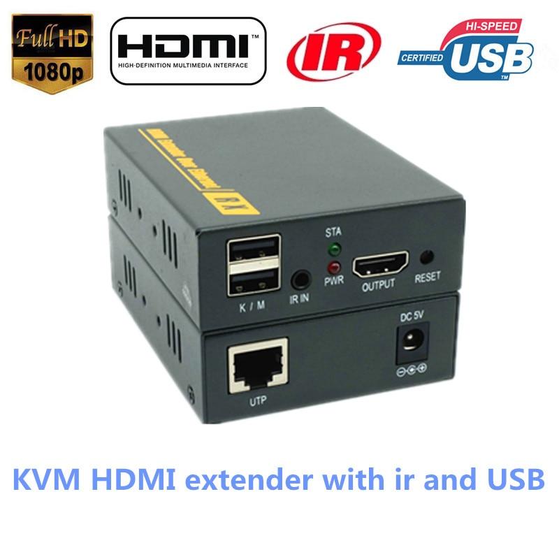 Super Quality IP Network HDMI USB KVM Extender 120m By RJ45 Cat5e/6 Cable 1080P HDMI Keyboard Mouse KVM IR Extender Over TCP IP hdmi extender rj45