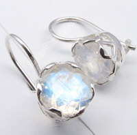 CAGE Earrings Silver Rainbow Moonstone 7 Other Choices Gem Real Stones