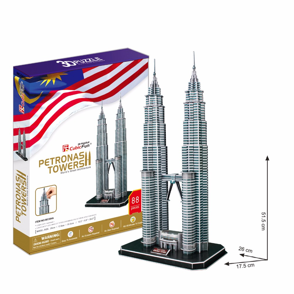 Gratis frakt 3D Wood Puzzle DIY Modell Kids Toy, World Famous Towers - Puslespill - Bilde 1