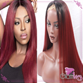 2 Tones Ombre Burgundy Red Synthetic Lace Front Wig Silk Straight Ombre Wigs Dark Roots Wine Red Wigs Heat Resistant Fiber Hair