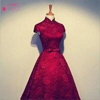 Vermelho Escuro Vermelho Alta Gola de Renda de Mangas Curtas Vestidos de Noite chá de Comprimento Mangas Evening Vestido De Baile Real Vestido 100% mesmo