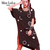 Max LuLu Luxury Hip Hop Brand Sexy Girls 3d Printed Streetwear Women Lace Patchwork Dresses Casual