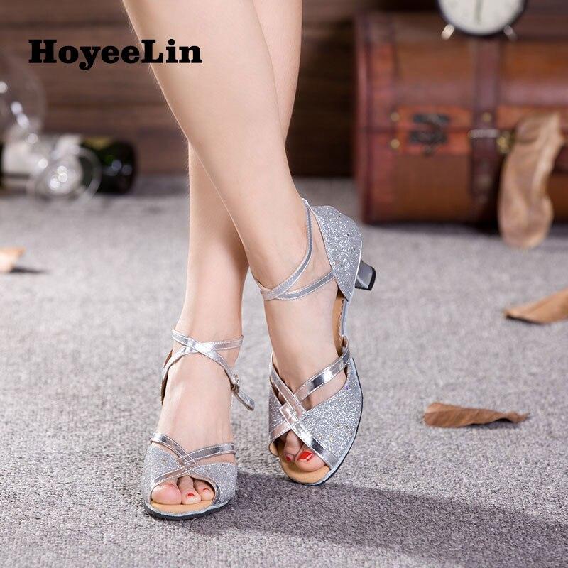 Ladies Latin Ballroom Dance Shoes Mid Heeled Rumba Salsa Dancing Party Sandals