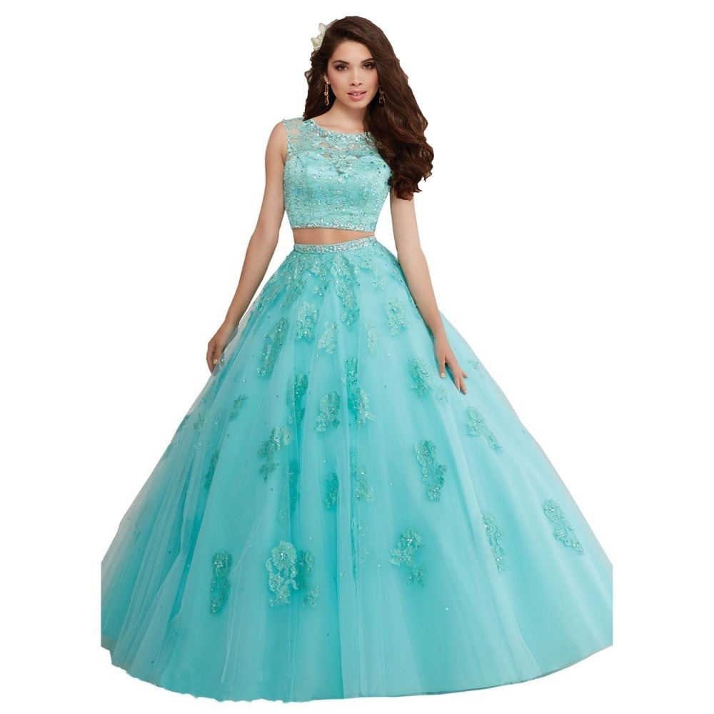 Two Piece Sweet 16 Quinceanera Dresses Pink Ball Gown Prom ...
