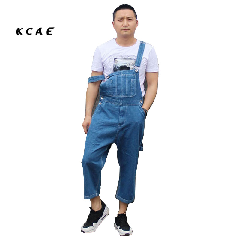 2016 Plus Size 36-42 Summer New Mens Overalls Denim Jeans Pants Calf-Length Cargo Pants Loose Casual Trousers 2017 spring and summer womens denim bib pants overalls female popular loose plus size cargo pants jeans suspender trousers