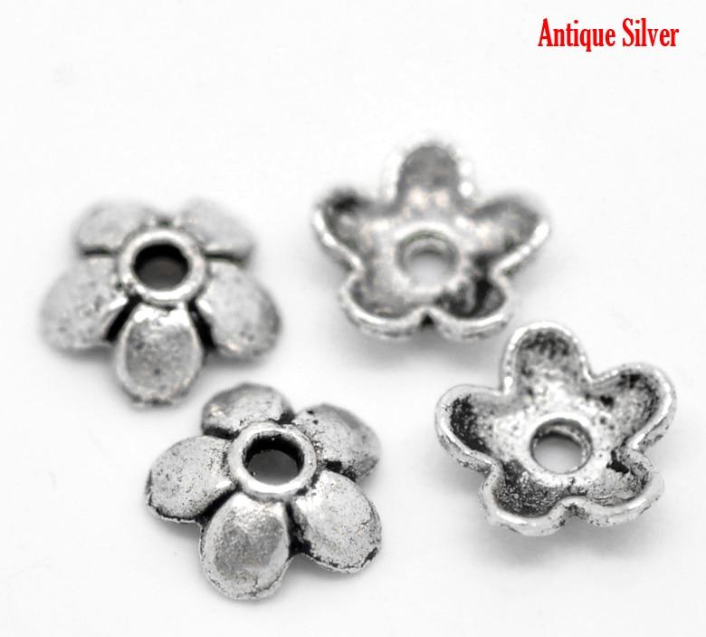 DoreenBeads 70PCs Antique Silver Flower Bead End Caps Findings 6mmx6mm( 2/8
