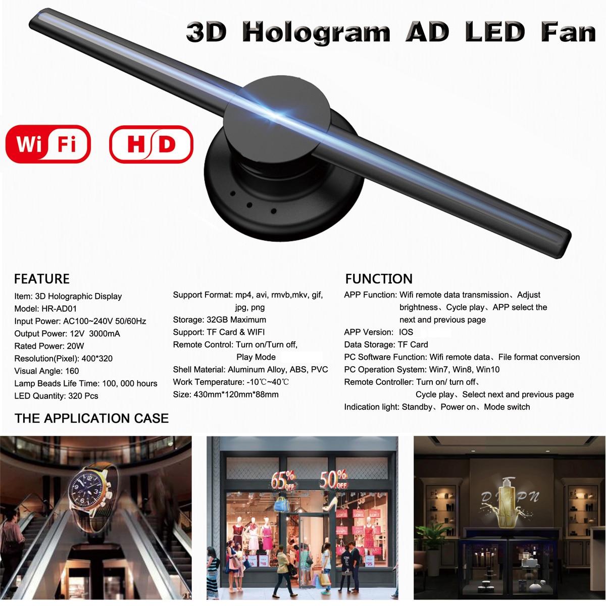 NOUVELLE Mise À Niveau Wifi 3D Holographique Projecteur Hologramme Lecteur LED Affichage Fan Publicité Lumière APP Contrôle 42 cm/16.54