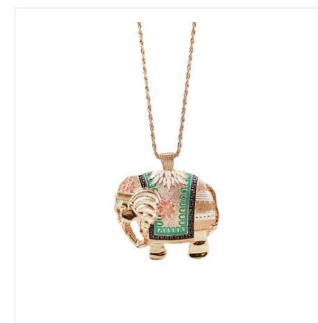 gold color ethnic lucky elephant pendant necklaces women party club wea