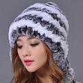 2016 Women Rex Rabbit Fur Hat Fur Ball Real Winter Warm  Fashion Hats Hand Sewing Strips Color Elastic Lady Beanies Cap