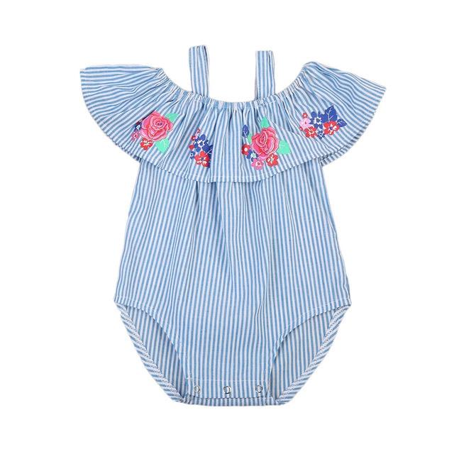 fd435fd8e Newborn Baby Girls Clothes Roses Blue Striped Cotton Romper Jumpsuit ...
