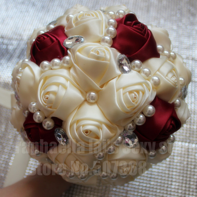 High Quality Ivory Red Cream Bridal Wedding Bouquet Artificial Bridesmaid Flower Crystal Pearl Silk Rose