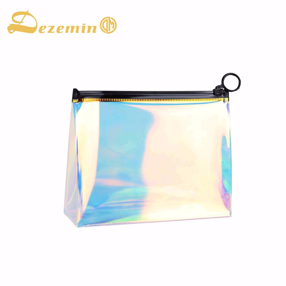 DEZEMIN Makeup Bag TPU Holographic Clear Cosmetic Pouch Travel Organizer