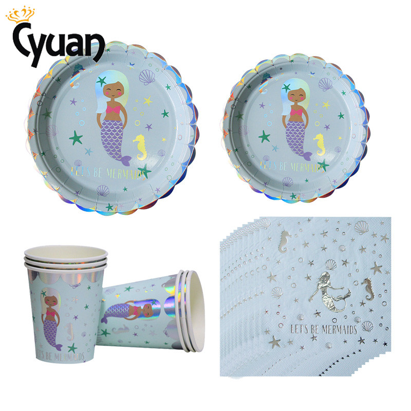 Little Mermaid Party Tableware Supplies Theme Mermaid Decor Mermaid Cups Plates Napkins Balloon For Kids Birthday Party Favors