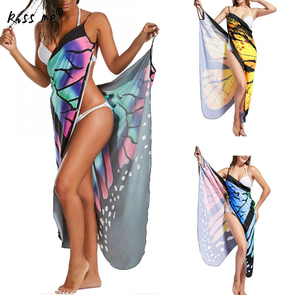 Beach Cover Up Printed Beach Dress Tunic 2018 Summer Women's Sarong Dresses Multifunction Swimsuit Butterfly type Women Tunics