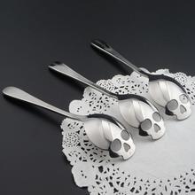 New Design 3Pcs Stainless Steel Skull Shape Coffee Sugar Spoon Dessert Ice Cream Tea Spoon