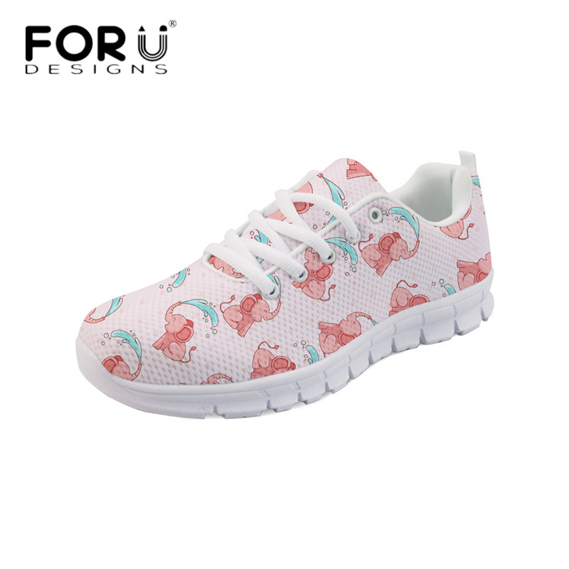 FORUDESIGNS Newest Pink Casual Flats Women's Cartoon Elephant Design Comfortable Mesh Sneaker Light Lace Up Zapatos Female Shoes forudesigns 3d flowers pattern women casual sneakers comfortable mesh flats shoes for female girls lace up shoes zapatos mujer