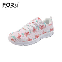 FORUDESIGNS Newest Pink Casual Flats Women's Cartoon Elephant Design Comfortable Mesh Sneaker Light Lace Up Zapatos Female Shoes