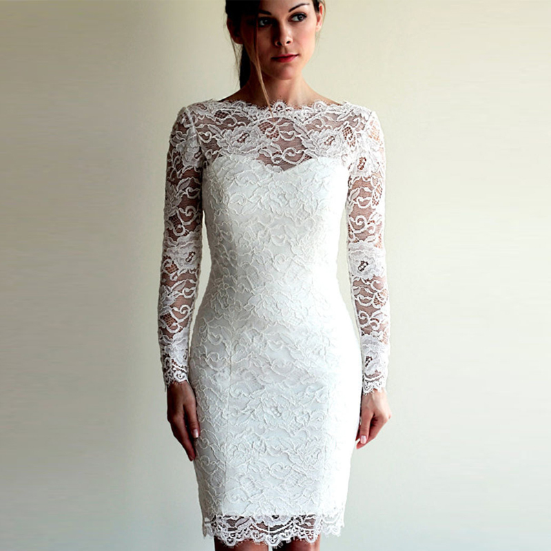 Online Buy Wholesale long sheer sleeve casual lace wedding dresses ...