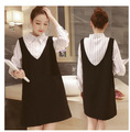 maternity clothes 2016 Korean version of pregnant women temperament  stripes stitching fashion fake two pregnant women dress