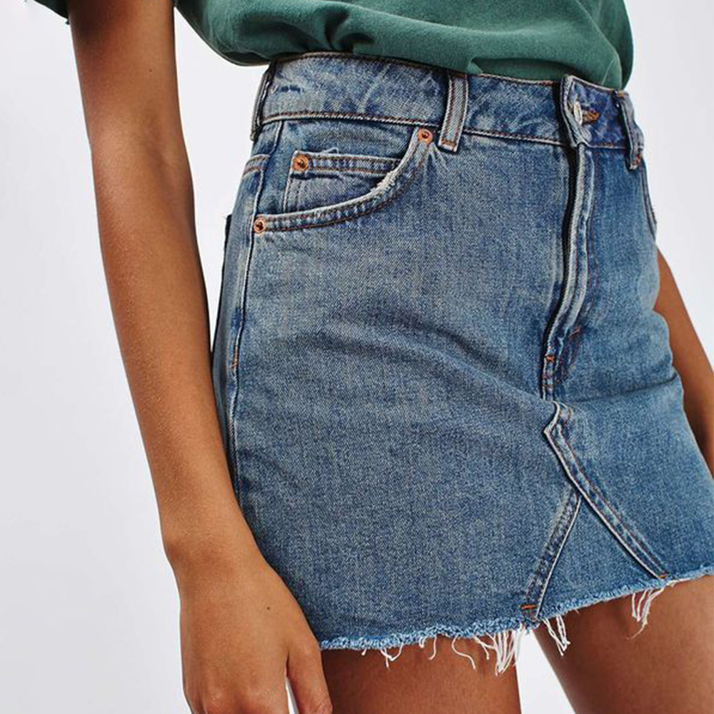 LASPERAL Women Black Blue Solid Casual High Waist Pencil Denim Skirts Summer High Street Pockets Button All-matched Jeans Skirt