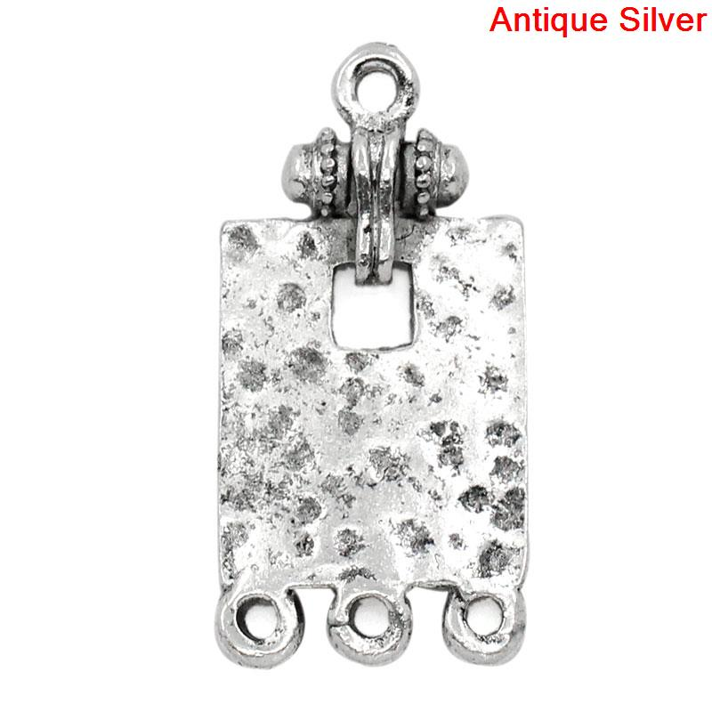 DoreenBeads Zinc Metal Alloy Connectors Findings Rectangle Antique Silver Dot Pattern Color 30mm(1 1/8