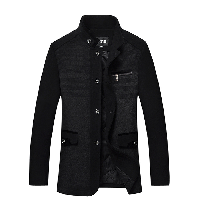 Jacket Overcoat-Size Woolen Autumn XL Thick Single-Breasted Casual Fashion Mens XXXL