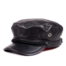 Korean tidal Unisex cowhide leather flat-topped cap short brim spring and single young student  fashion stars hat
