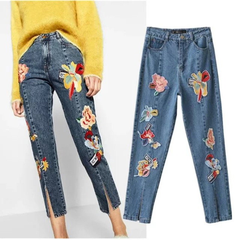 2017 Spring Embroidery Flower Patch Jeans Woman High Waist Vintage Ladies Denim Pencil Print Jeans Trousers Straight Pants C3211