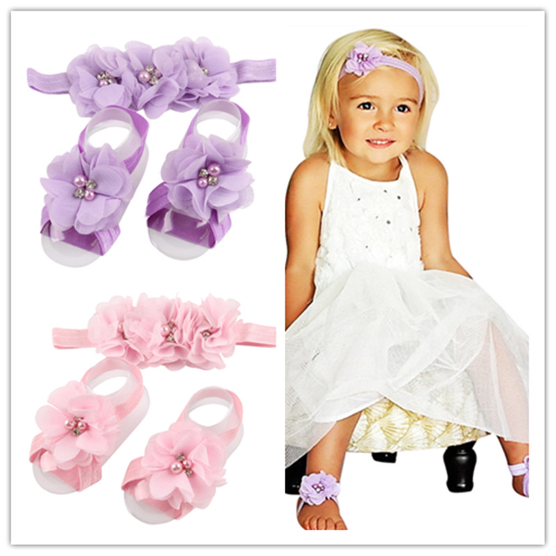 1set baby headband chiffon flower headband children girls flower sandals set christening shower gift girls hair Accessories yiwu