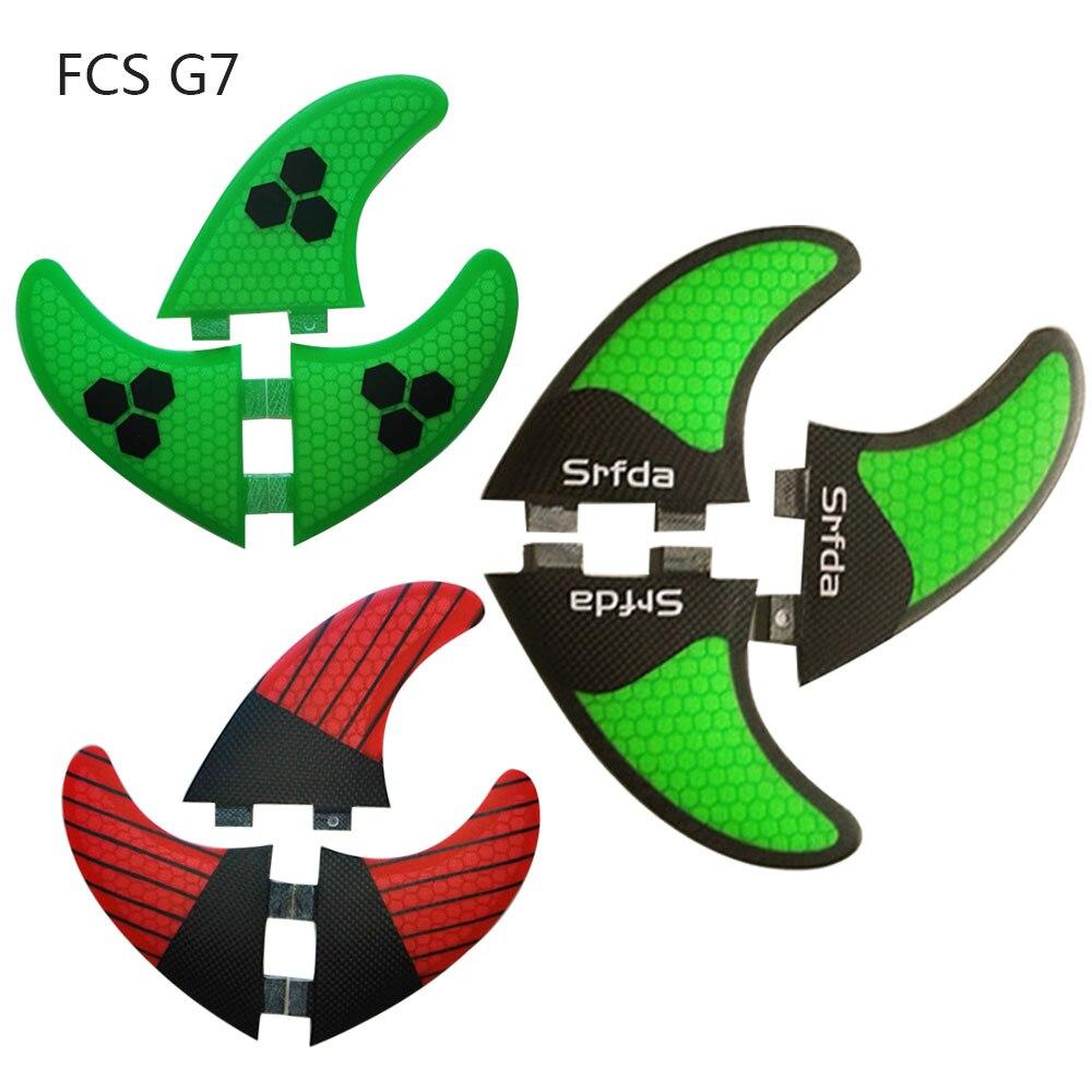 4 couleurs FCS G7 (3 pièces) fiber de carbone quilhas de surf en nid d'abeille fcs surf ailerons thruster pranchas de sup ailettes surf palmes Un