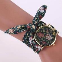 Fashion Women Small Floral Cloth Wristwatch Ladies Watch Fabric Watch Sweet Girls Bracelet Watch LL@17
