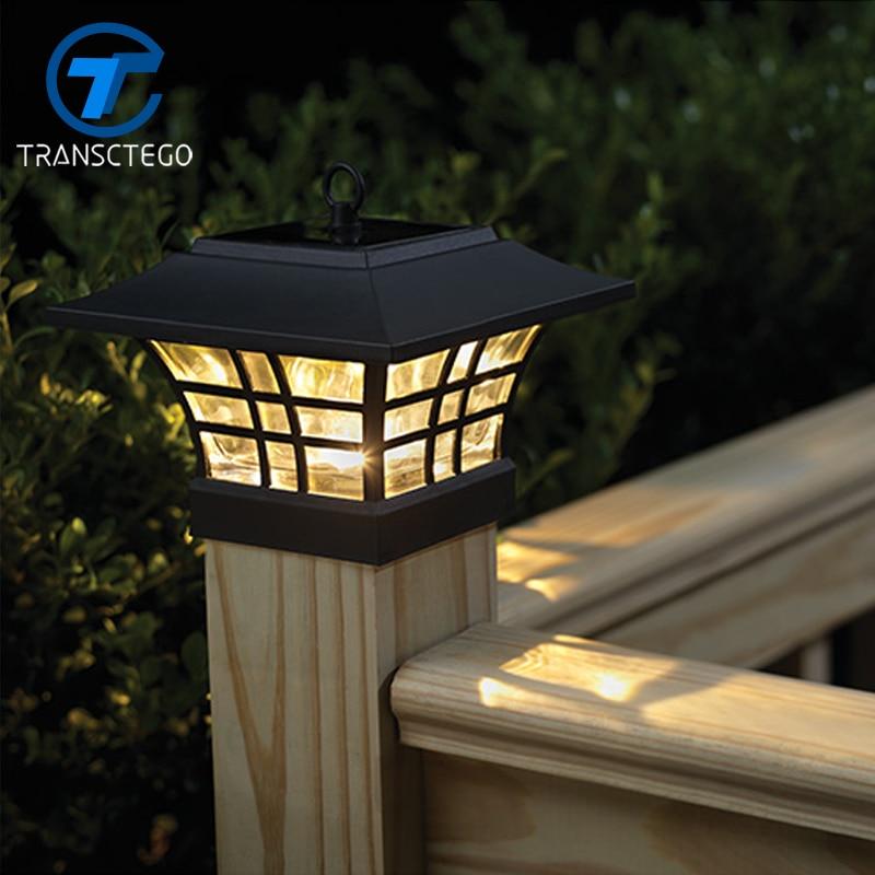 TRANSCTEGO Solaire Lumière Pour Jardin Étanche LED Solaire Lampe Extérieure Paysage Cour S'allume Ménage Poteau De Clôture Pilier Lampes