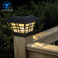 TRANSCTEGO Solar Light For Garden Waterproof LED Solar Lamp Outdoor Landscape Courtyard Lights Household Fence Post Pillar Lamps