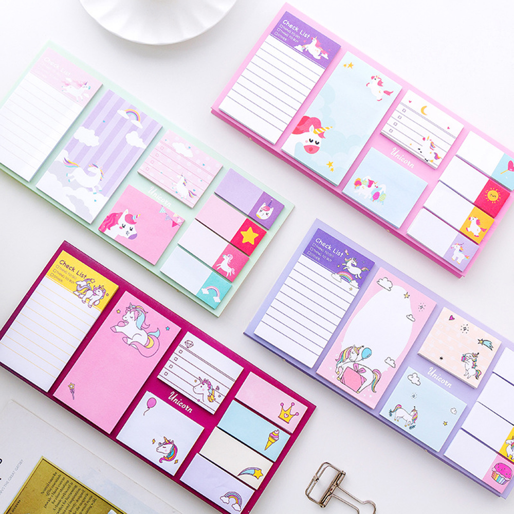 Cute Cartoon Unicorn Memo Pad Note Sticky Paper Korean Stationery Rainbow Planner Stickers Notepads School Office