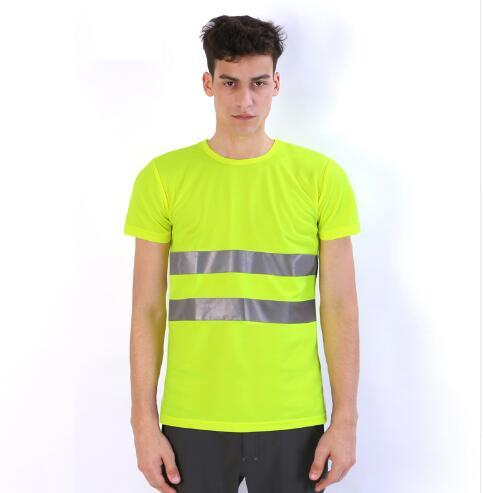 Safety Clothing Reflective High Visibility Tops Tee Quick Drying Short Sleeve Working Clothes Fluorescent Yellow Workwear