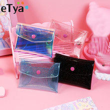 Transparent Coin Purses Women Wallets Small Cute Kawaii Card Holder Key Money Bags for Girls Ladies Purse Fashion Change Pouch(China)