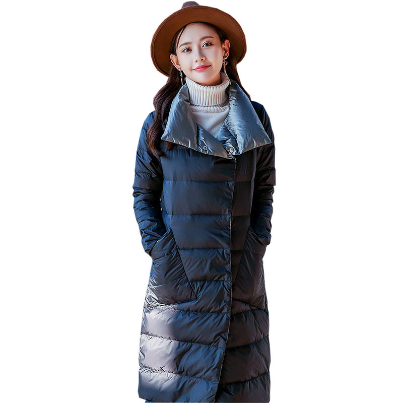Light Thin   Down     Coats   Women Double Side Slim Long White Duck   Down   Jackets Outwears Autumn Winter Female Casual   Down     Coats   FP1646