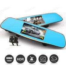 Best Buy 5.0″ Full HD 1080P Car DVR Digital Video Registrator Night vision G-Sensor Dual Lens Camera Rearview Mirror Dash Cam