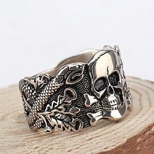 Image 5 - Skull Ring for Men 925 Sterling Silver Skeleton Walking Evil Demon Vintage Punk Rock Cool Skull Ring for Men Fashion Jewelry