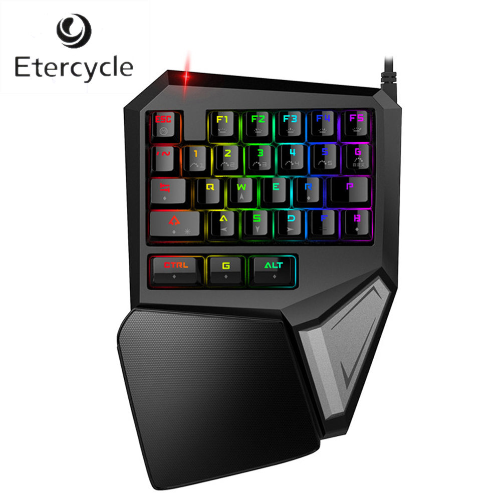T9 Plus Single Hand Mechanical Gaming Keyboard with Programmable 29-Keys Wired USB Multicolor LED Ergonomic Backlit Keyboard dare u wcg armor soldier 6400dpi 7 programmable buttons metab usb wired mechanical gaming mouse