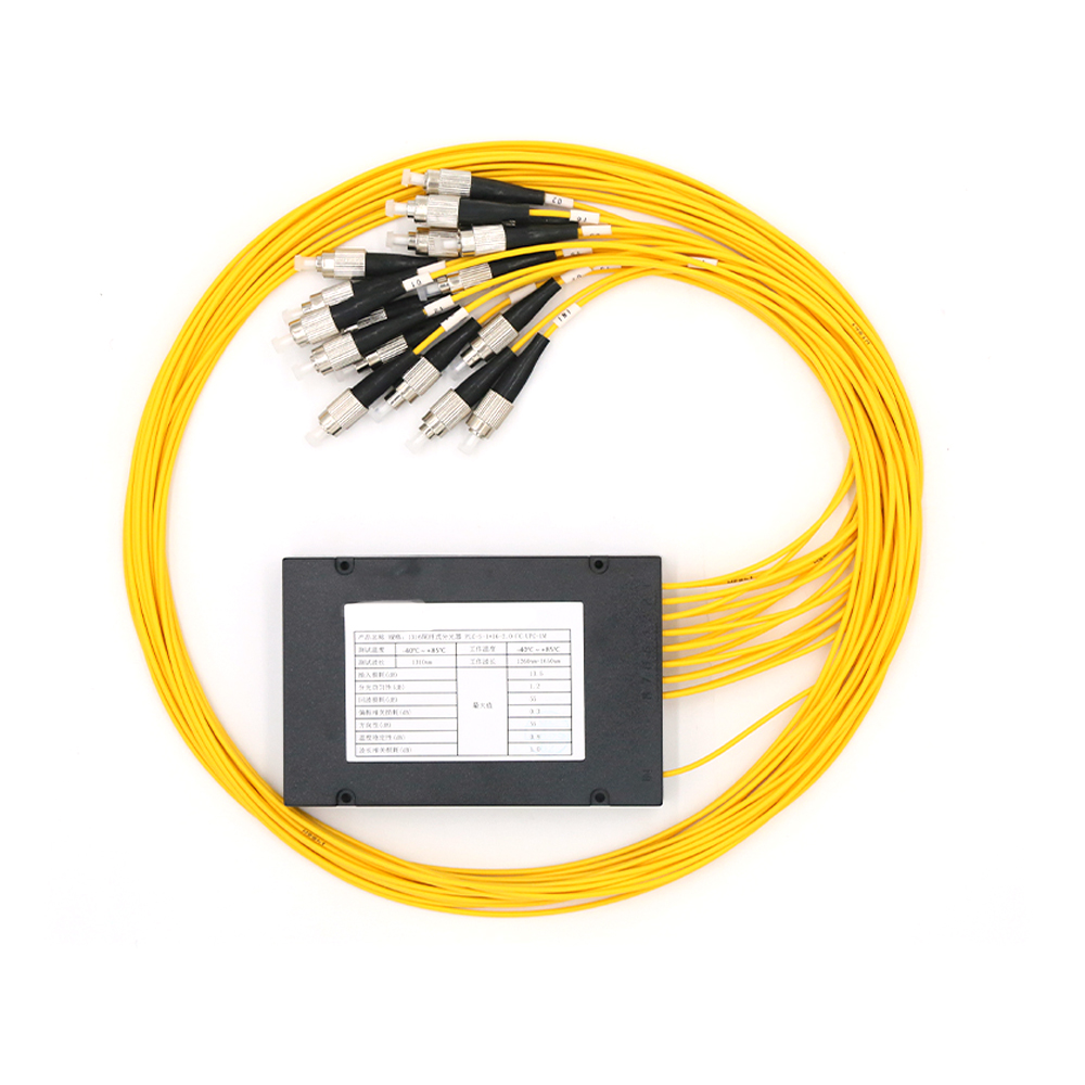 FC/UPC 1x16 FBT Fiber Optic Splitter 1310/1550nm Singlemode, PLC Splitter Module SM 1M, High Reliability